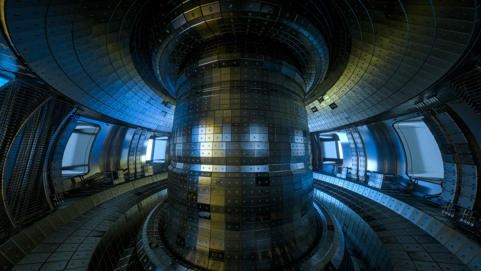 Fusion reactor Tokamak. Reaction chamber. Fusion power.