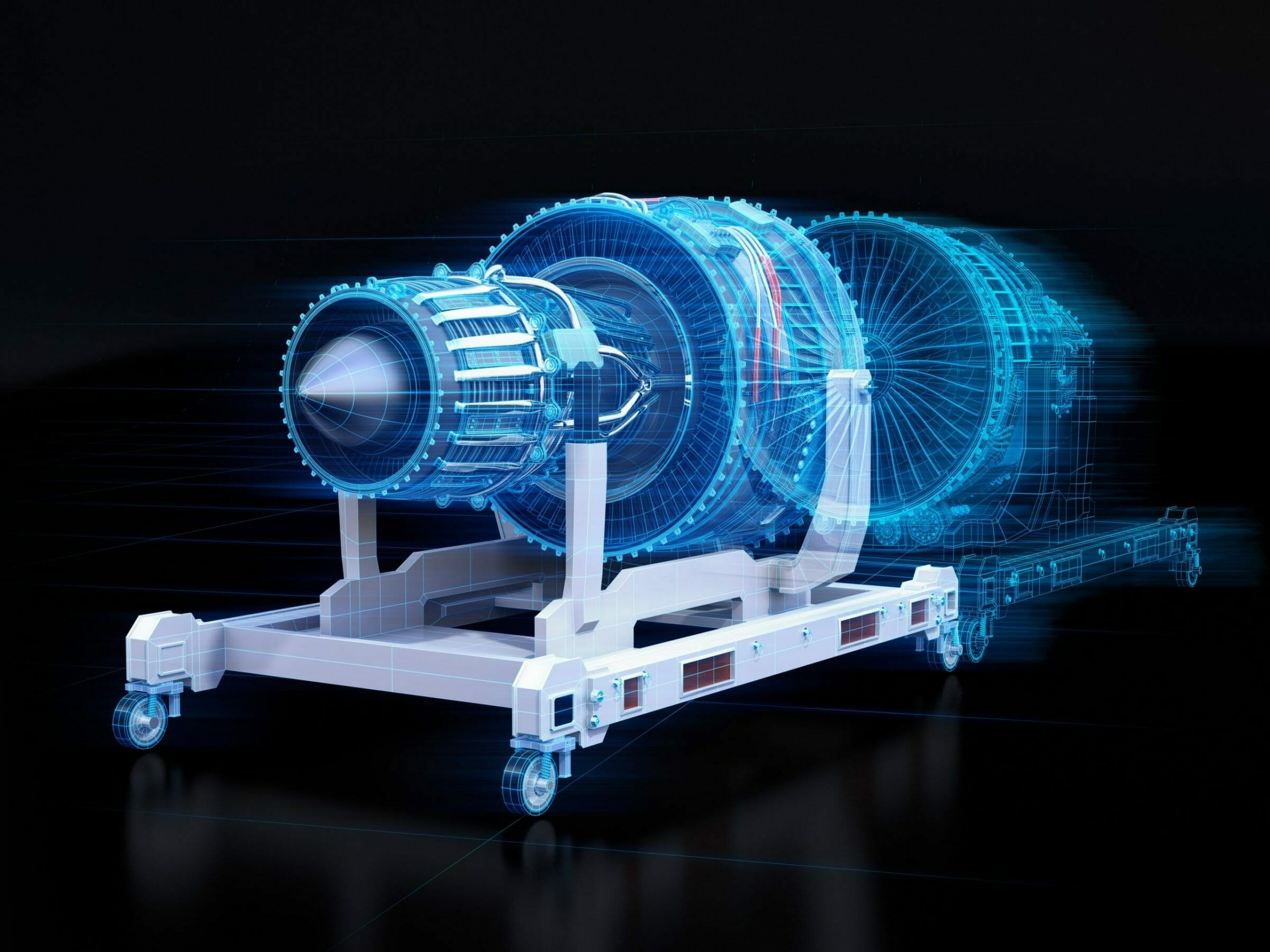 Wireframe rendering of turbojet engine and mirrored physical body on black background