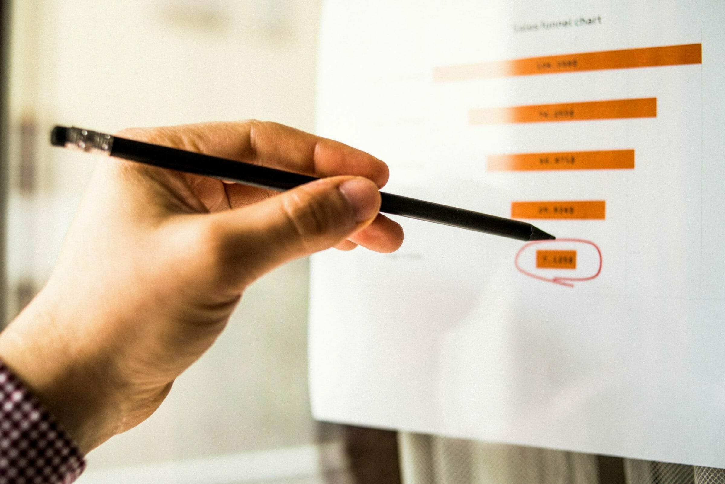 Male hand pointing with a finger at a sales funnel chart printed on a sheet of paper during a marketing meeting