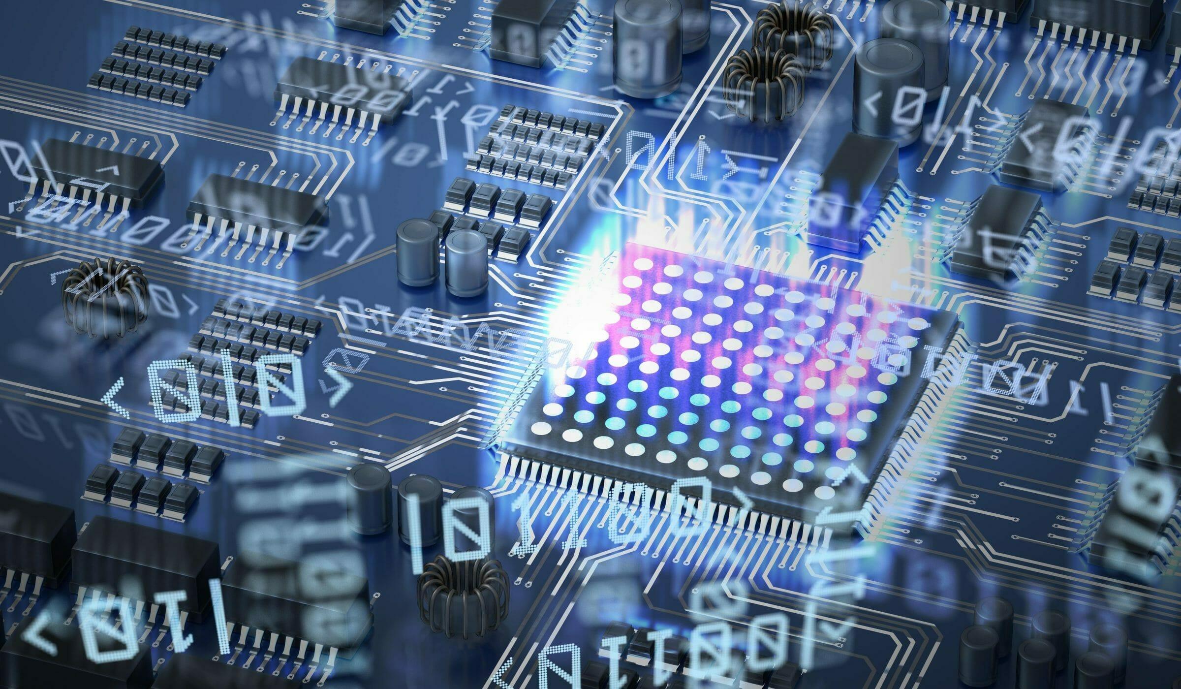 Quantum computing concept. Circuit and qubits in background
